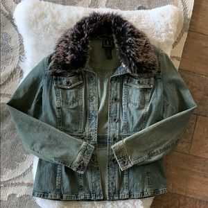 INC brand jean jacket with faux fur collar- size S